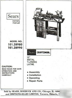 sears craftsman owners manual 12 quot  metal lathe Craftsman Metal Lathe Model 101 Craftsman Wood Lathe Parts