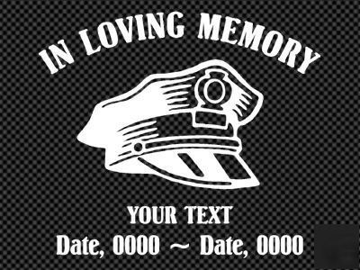 In Loving Memory Police Man Decal Memorial Of Ilm115
