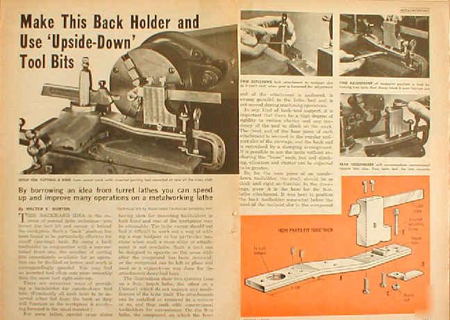 Back holder plans metal lathe use upside down tool bits